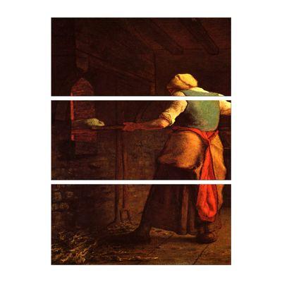 Leinwandbild - Alte Meister - Jean-François Millet - Frau beim Brotbacken – Bild 3