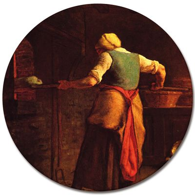 Leinwandbild - Alte Meister - Jean-François Millet - Frau beim Brotbacken – Bild 4