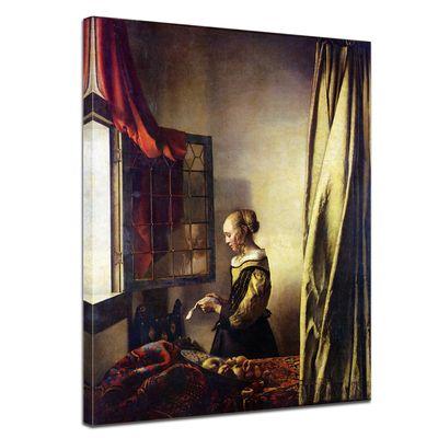 Leinwandbild - Alte Meister - Jan Vermeer - Briefleserin am offenen Fenster – Bild 1