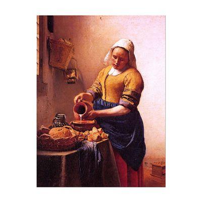 Leinwandbild - Alte Meister - Jan Vermeer - Dienstmagd mit Milchkrug – Bild 2