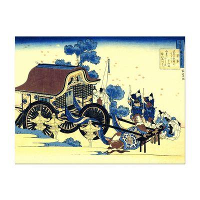 Leinwandbild - Alte Meister - Katsushika Hokusai - Der Ochsenkarren – Bild 2
