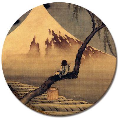 Leinwandbild - Alte Meister - Katsushika Hokusai - Flötenspieler auf einem Trauerweidenzweig, den Fuji betrachtend – Bild 4