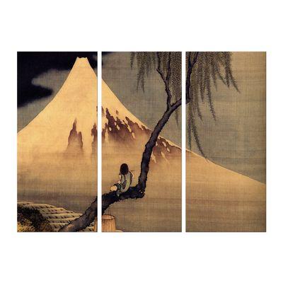 Leinwandbild - Alte Meister - Katsushika Hokusai - Flötenspieler auf einem Trauerweidenzweig, den Fuji betrachtend – Bild 3
