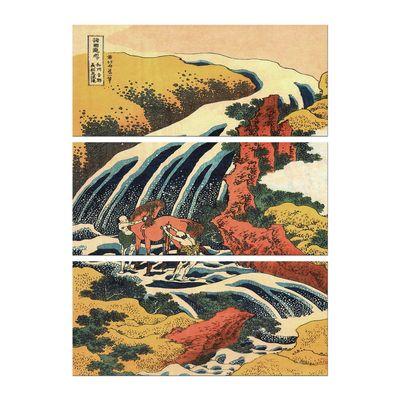 Leinwandbild - Alte Meister - Katsushika Hokusai - Yoshitsune Umarai Wasserfall – Bild 6
