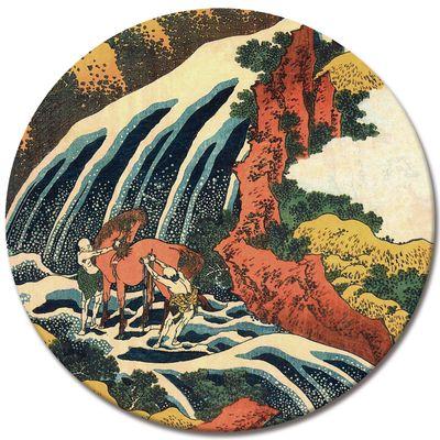 Leinwandbild - Alte Meister - Katsushika Hokusai - Yoshitsune Umarai Wasserfall – Bild 3