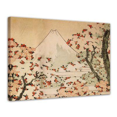 Leinwandbild - Alte Meister - Katsushika Hokusai - Blick auf den Fujijama mit blühenden Kirschbäumen – Bild 1