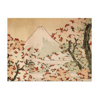 Leinwandbild - Alte Meister - Katsushika Hokusai - Blick auf den Fujijama mit blühenden Kirschbäumen – Bild 2
