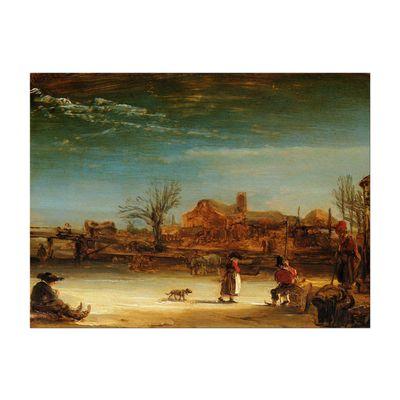 Kunstdruck - Alte Meister - Rembrandt - Winterlandschaft – Bild 2