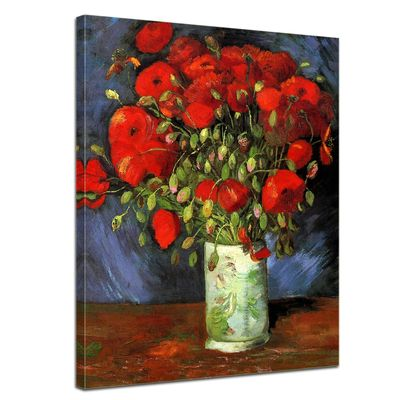Leinwandbild - Alte Meister - Vincent van Gogh - Vase mit roten Mohnblumen – Bild 1