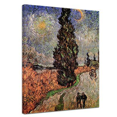 Leinwandbild - Alte Meister - Vincent van Gogh - Zypressenweg unter dem Sternenhimmel – Bild 1