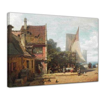Leinwandbild - Alte Meister - Carl Spitzweg - Alte Schänke am Starnberger See – Bild 1