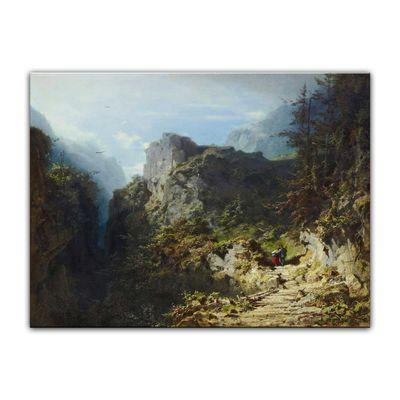 Leinwandbild - Alte Meister - Carl Spitzweg - Berglandschaft mit Liebespaar (Jäger und Mädchen) – Bild 2