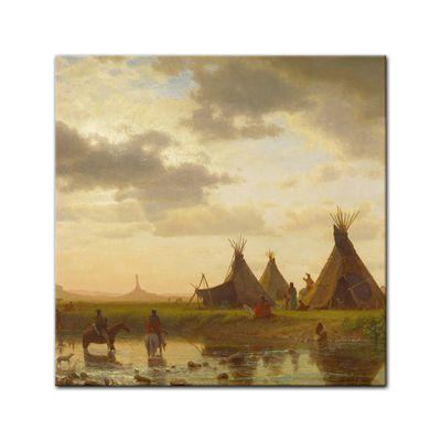 Kunstdruck - Alte Meister - Albert Bierstadt - View of Chimney Rock, Ohalilah Sioux Village in the Foreground – Bild 5
