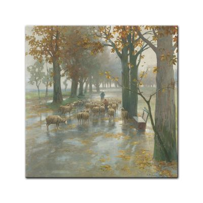 Adolf Kaufmann - Flock of Sheep with Shepherdess on a Rainy Day – Bild 3