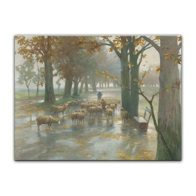 Kunstdruck - Alte Meister - Adolf Kaufmann - Flock of Sheep with Shepherdess on a Rainy Day – Bild 2