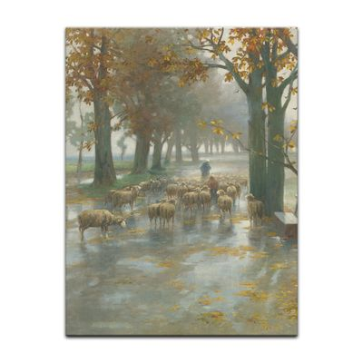 Adolf Kaufmann - Flock of Sheep with Shepherdess on a Rainy Day – Bild 4