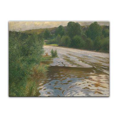 Leinwandbild - Alte Meister - Adolf Kaufmann - Flusslandschaft – Bild 2