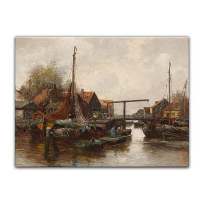 Kunstdruck - Alte Meister - Adolf Kaufmann - In the Harbour – Bild 2