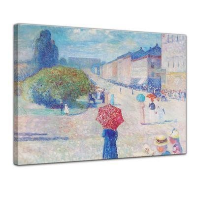 Leinwandbild - Alte Meister - Edvard Munch - Frühling auf der Johan-Karl-Straße – Bild 1