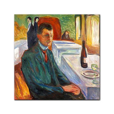 Leinwandbild - Alte Meister - Edvard Munch - Selbstbildnis mit Weinflasche – Bild 3