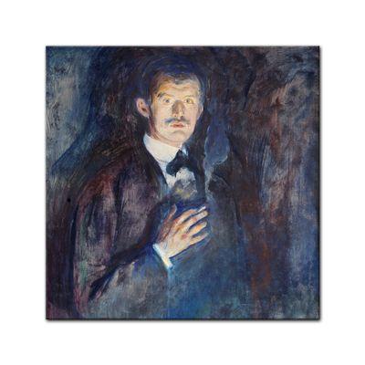 Leinwandbild - Alte Meister - Edvard Munch - Selbstporträt mit Zigarette – Bild 5