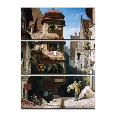 Leinwandbild - Alte Meister - Carl Spitzweg - Der Briefbote im Rosenthal – Bild 10