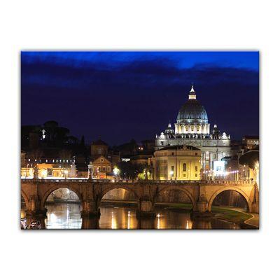 Leinwandbild - Vatican at Night from Ponte Umberto Uno - 80x60 cm – Bild 2
