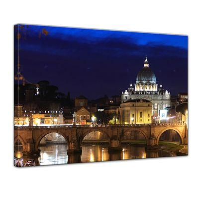 Leinwandbild - Vatican at Night from Ponte Umberto Uno - 80x60 cm – Bild 1