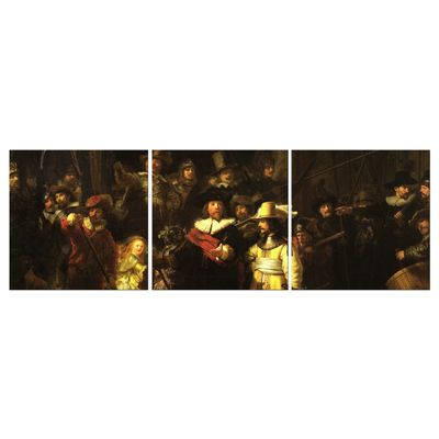 Kunstdruck - Alte Meister - Rembrandt - Die Nachtwache - 120 cm x 40 cm 3tlg - farbig – Bild 2