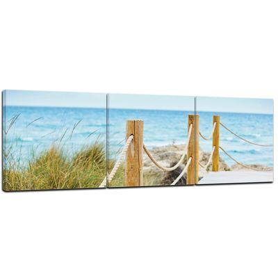 Leinwandbild - Schöner Weg zum Strand - 120 cm x 40 cm 3tlg - farbig – Bild 1