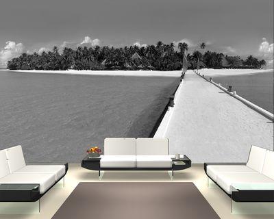 Fototapete - Malediven - 230 cm x 150 cm - schwarz/weiß