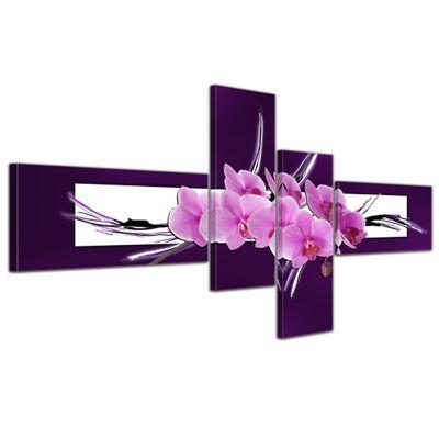 Leinwandbild - Abstrakte Kunst Orchidee - 140x65cm 4 teilig  – Bild 1