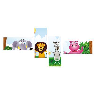 Leinwandbild - Kinderbild - Dschungeltiere Cartoon 200x80 cm 4tlg – Bild 2