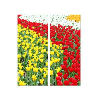 Leinwandbild - Farbenfrohes Tulpenfeld 60x70 cm 2 teilig – Bild 2