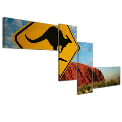 Leinwandbild - Ayers Rock - Australien - 140x65 cm 4tlg – Bild 1