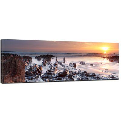 Leinwandbild - Sonnenuntergang Küste Woolacombe - North Devon, England - 120x40 cm – Bild 1