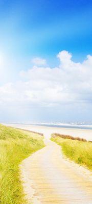 Türtapete selbstklebend Nordsee 90 x 200 cm  Landschaft Natur Meer Strand Ufer Sonne Atlantischer Ozean  Europa Urlaub Reisen  Strandkorb