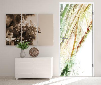 Türtapete selbstklebend Bambuswald 90 x 200 cm  Wasserfarbe Aquarell Bambus Wald Gewächs Natur Pflanze – Bild 2
