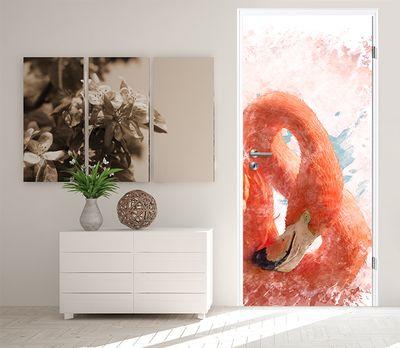 Türtapete selbstklebend Flamingo II 90 x 200 cm  Wasserfarbe Aquarell Tier rosa Vogel Gefieder tropisch – Bild 2
