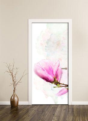 Türtapete selbstklebend Magnolien 90 x 200 cm  Wasserfarbe Aquarell Blume Pflanze Natur Garten Blüte rosa Frühling  – Bild 2