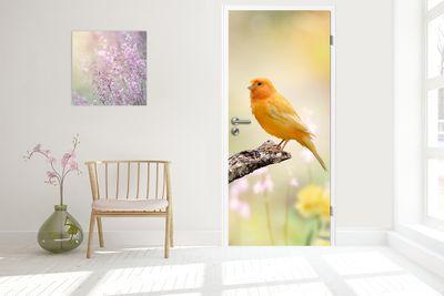 Türtapete selbstklebend gelber Vogel 90 x 200 cm  Tier Fink Haustier Kanaren Kanarienvogel bird Natur Tierbild – Bild 2