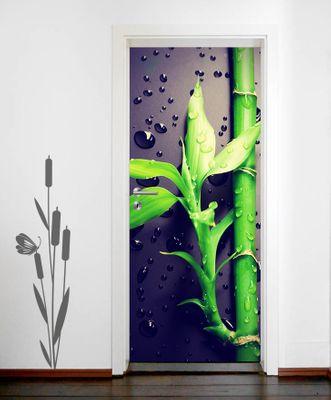 Türtapete selbstklebend Frischer Bambus II Vintage 90 x 200 cm  Asien Bambus Pflanze Natur Gewächs – Bild 2