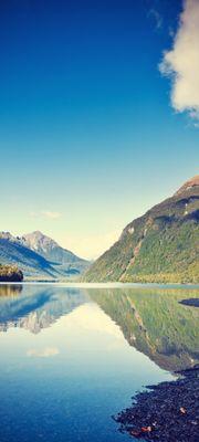 Türtapete selbstklebend Lake Gunn - Neuseeland Vintage 90 x 200 cm  Ozeanien Insel Wellington See Gewässer Natur Landschaft – Bild 1