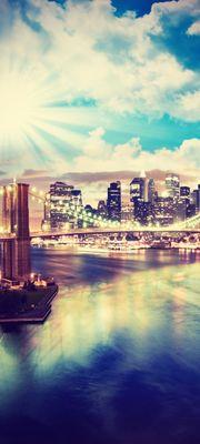 Türtapete selbstklebend New York V Vintage 90 x 200 cm  Big apple Brooklyn Bridge Manhattan Millionenstadt Skyline – Bild 1