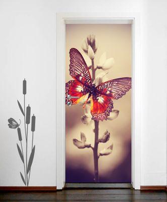 Türtapete selbstklebend Schmetterling auf einem Feld Vintage 90 x 200 cm  Falter Insekt bunt Flügel fliegen Raupe Tier Natur – Bild 2