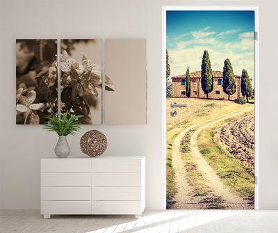 Türtapete selbstklebend Toskana - Italien Vintage 90 x 200 cm  Florenz Renaissance Natur Landschaft Europa Region Baum – Bild 2