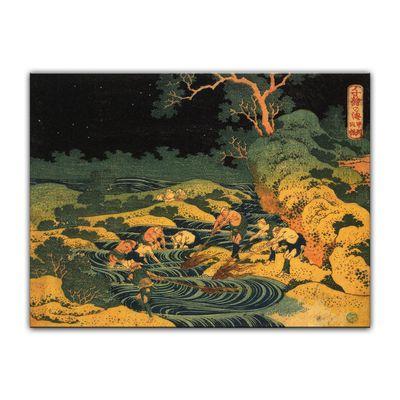 Katsushika Hokusai - Fischen im Fackelschein in der Kai Provinz – Bild 7