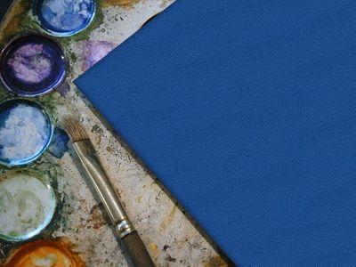 bemalbare Leinwand in blau - Rund – Bild 2