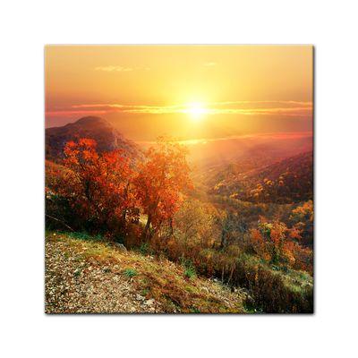 Leinwandbild - Sonnige Herbstlandschaft – Bild 13