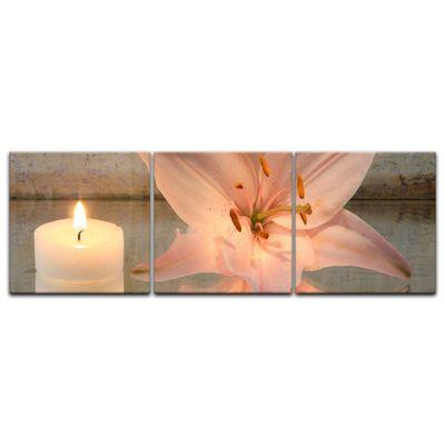 Leinwandbild - Lilie und Kerze - Panorama 180x60 cm 3tlg – Bild 2